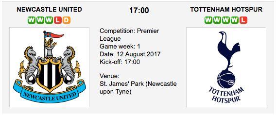 Newcastle vs. Tottenham: Betting preview - 13/08/2017 EPL