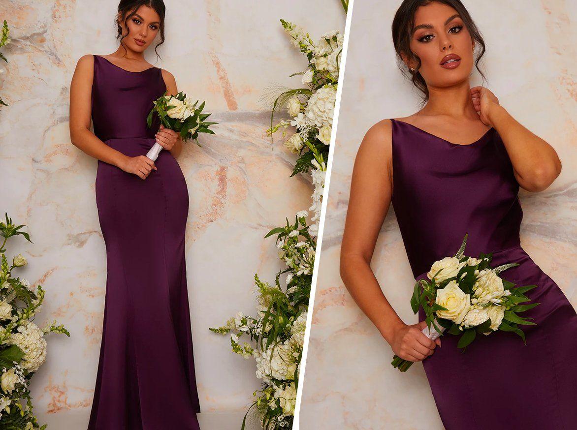 Satin Slip Bridesmaid Maxi Dress in Purple