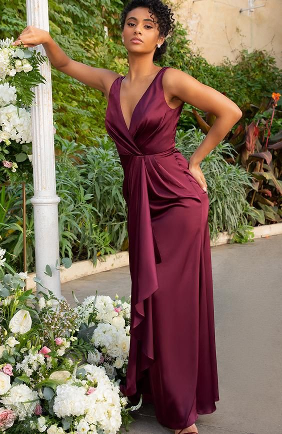 Satin Finish Wrap Detail Maxi Dress in Berry