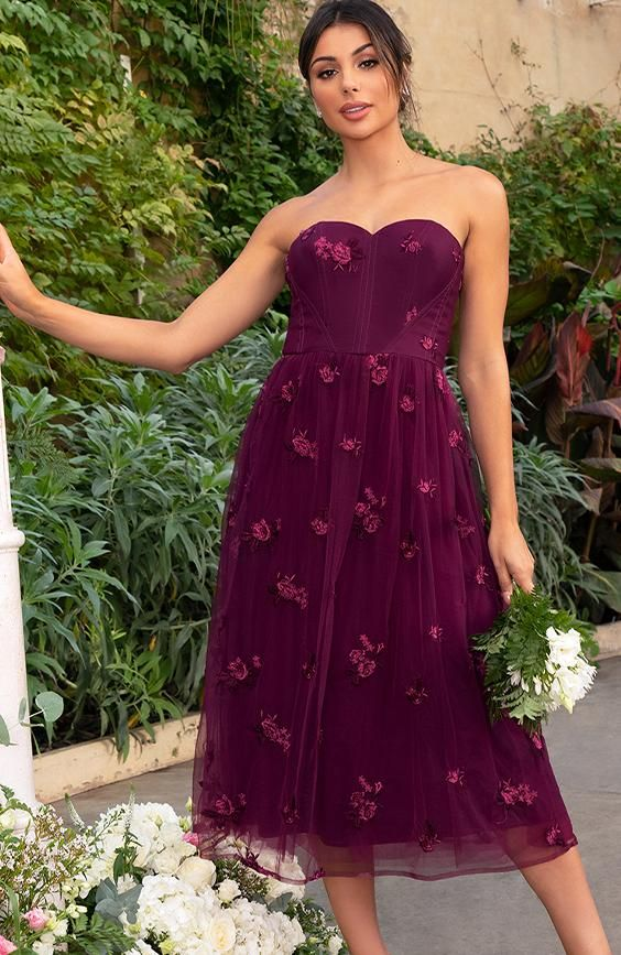 Bardot Lace Overlay Tulle Midi Dress In Burgundy