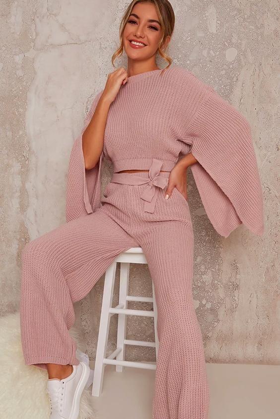 Drape Sleeve Knitted Lounge Set