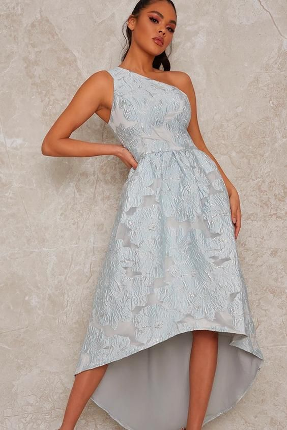 One Shoulder Jacquard Dip Hem Dress