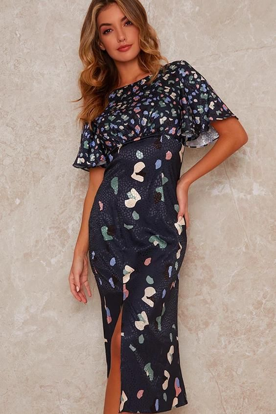 Abstract Midi Dress with Angel Sleeves