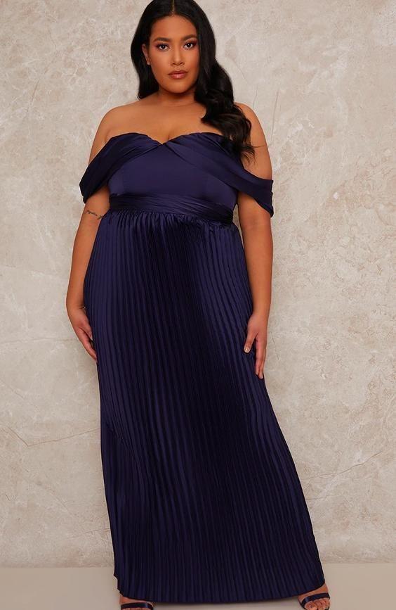 Curve Maxi Dress with Bardot Neckline