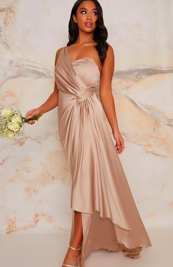 Petite One Shoulder Bridesmaid Maxi Dress