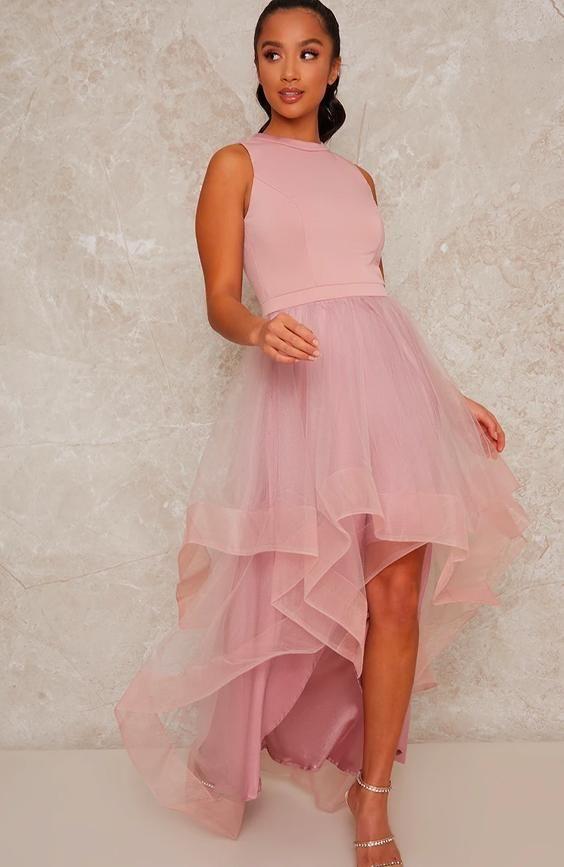 Petite Dip Hem Dress in Pink