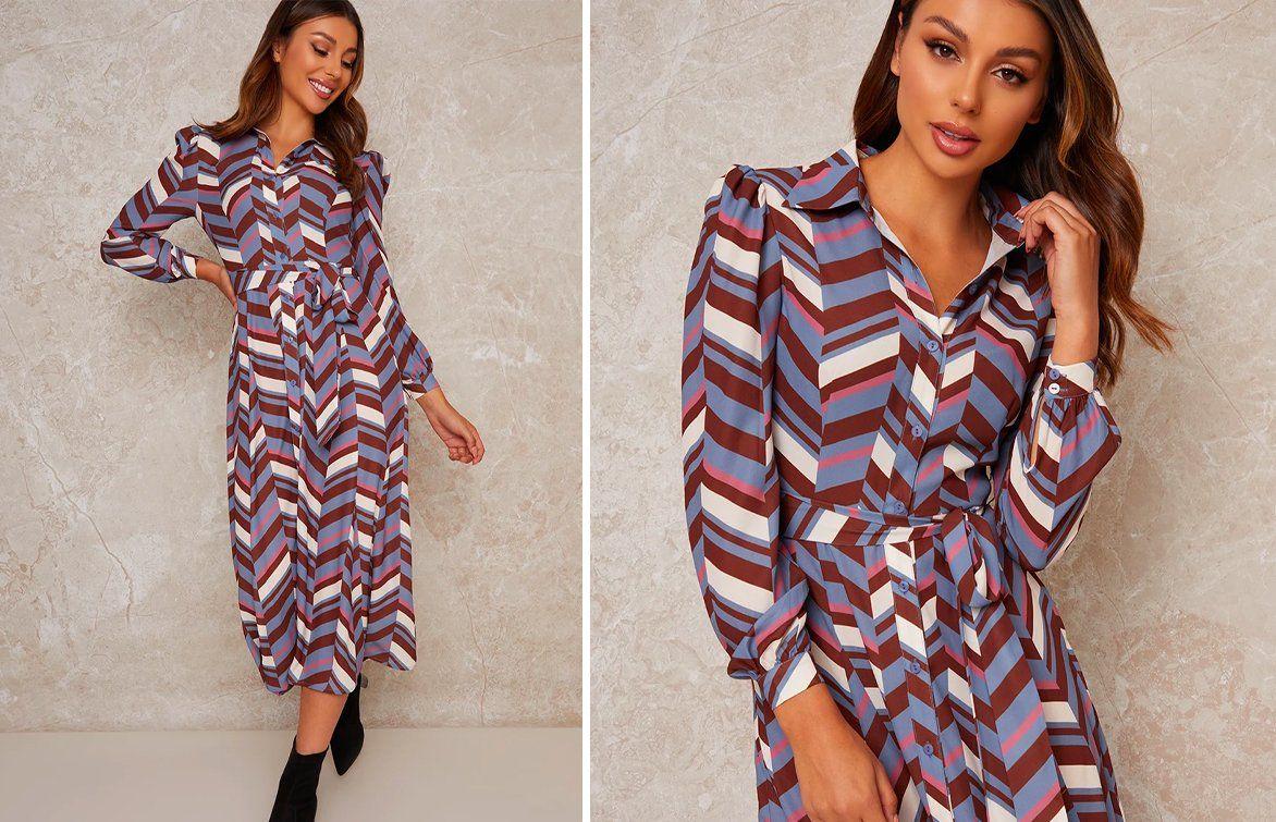 Geometric Print Midi Shirt Dress