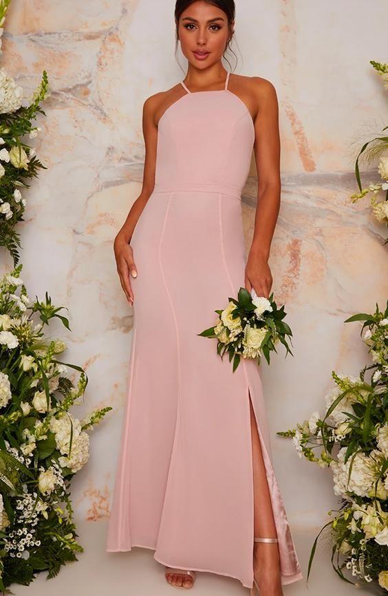 Maxi Lace Back Detail Bridesmaid Dress