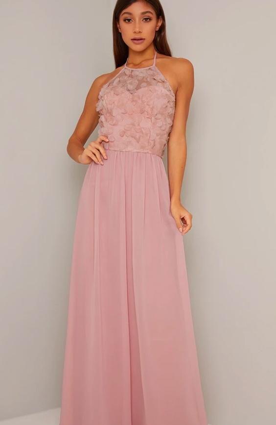 Halter Neck Floral 3D Bodice Maxi Dress