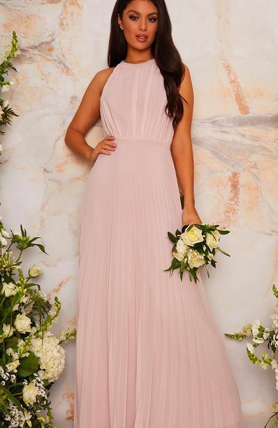 Halter Style Pleated Maxi Bridesmaid Dress