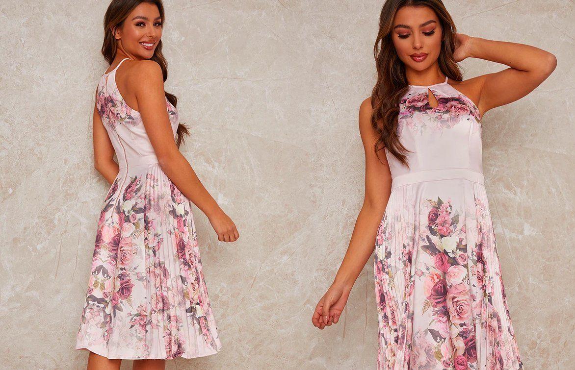 Pleated Midi Floral Dress