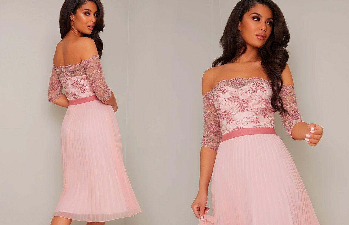 Bardot Sheer Lace Overlay Pleated Midi Dress