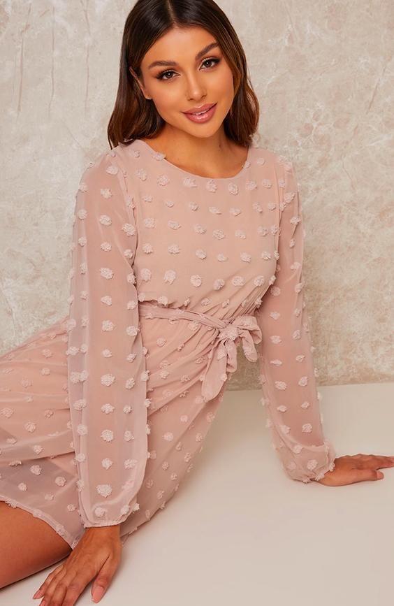 Pink Dobby Dress