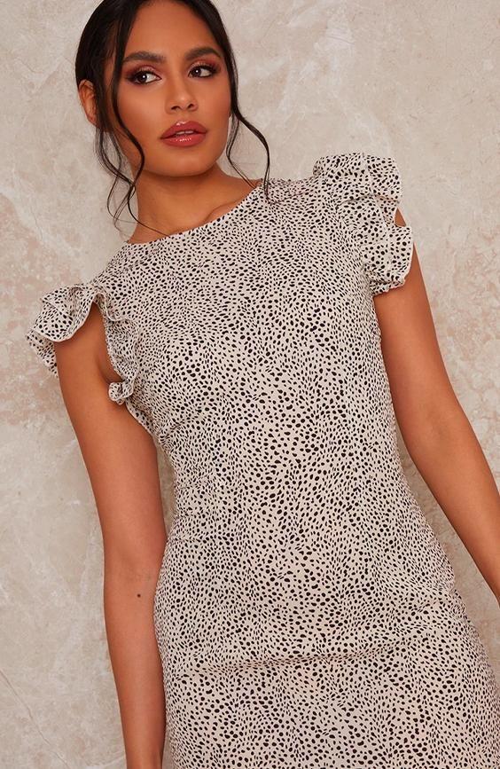 Ruffle Hem Printed Short Sleeve Midi Dress
