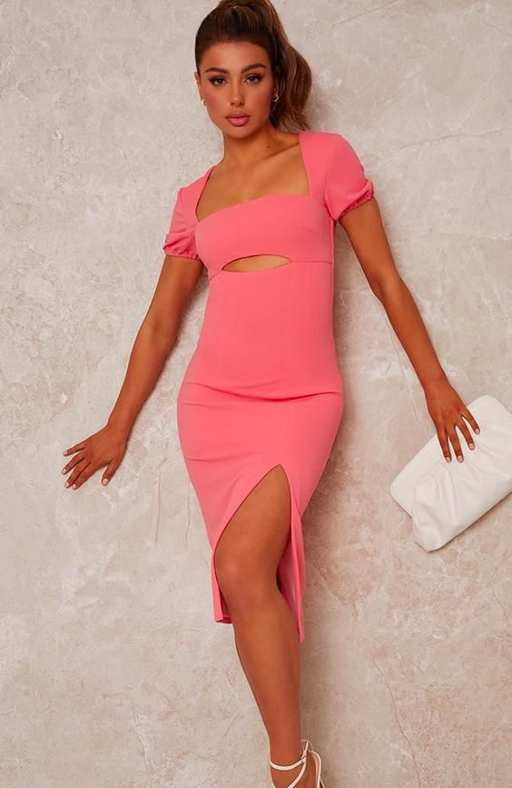 Cut Out Bodycon Dress with Puff Sleeve