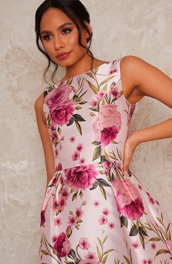 Sleeveless Floral Box Pleated Midi Dress