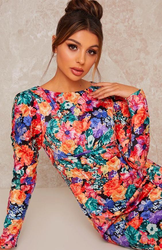 Long Sleeve Floral Print Midi Day Dress