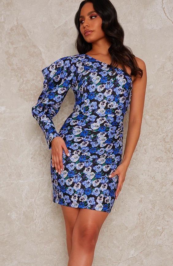 One Sleeve Floral Mini Dress