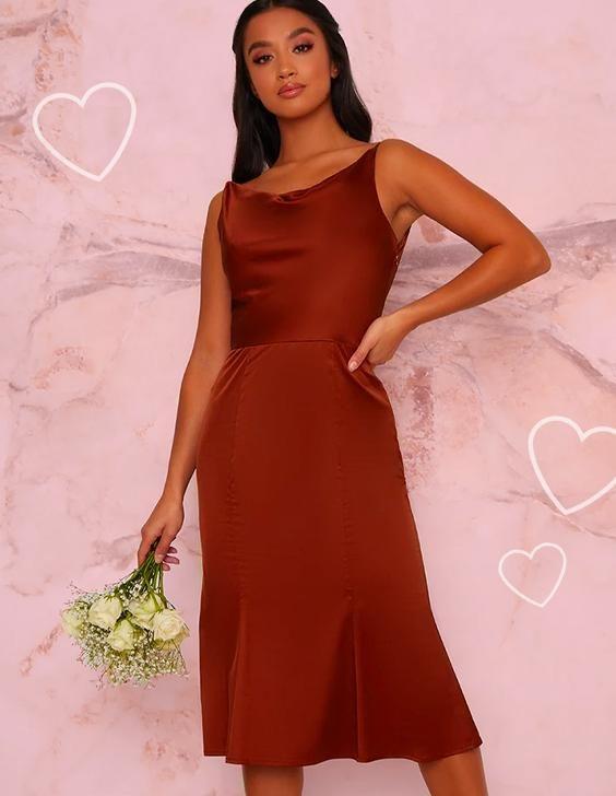 Satin Slip Cami Strap Midi Dress