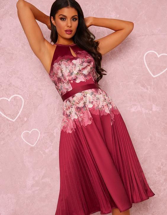 Halter Neck Floral Print Pleat Midi Dress