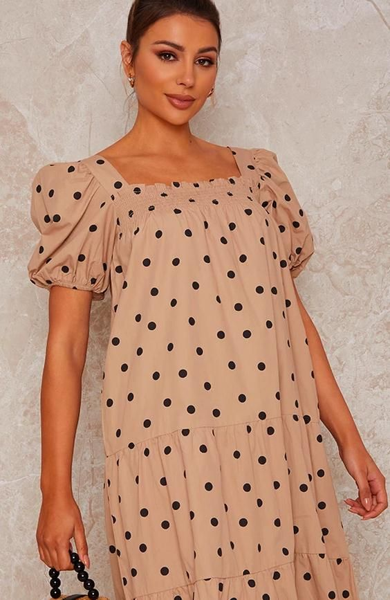 Puff Sleeve Spot Print Midi Smock Day Dress