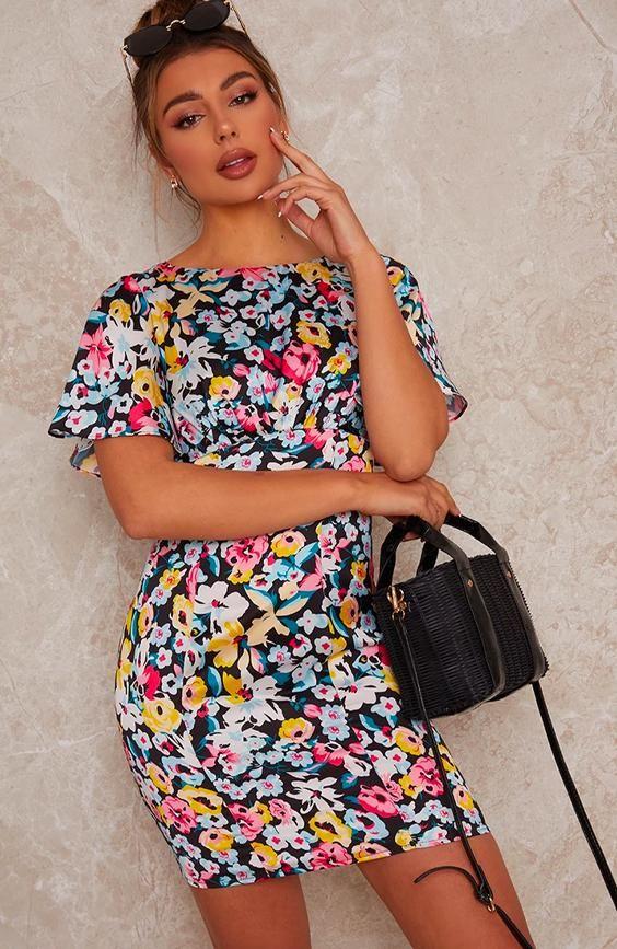 Flutter Sleeve Floral Print Mini Dress