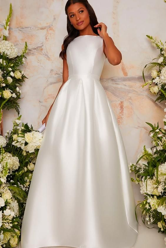 Sleeveless Structured Satin Bridal Dress with Train