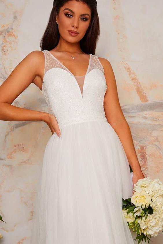 Bridal Sequin Bodice Tulle Maxi Wedding Dress