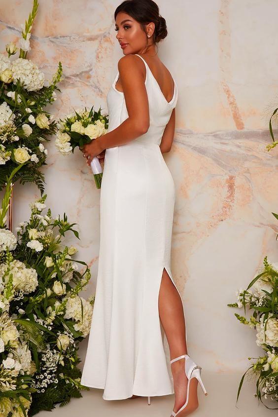 Bridal Wedding Dress with Cowl Neck Design