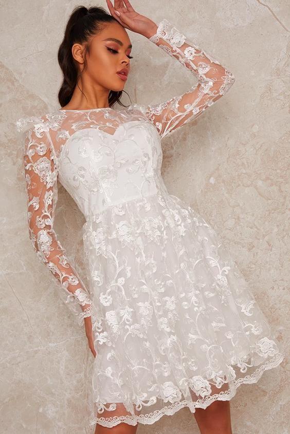 Long Sleeve Floral Embroidered Skater Dress