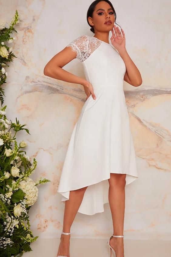 Laced Bridal Dress with Short Sleeves