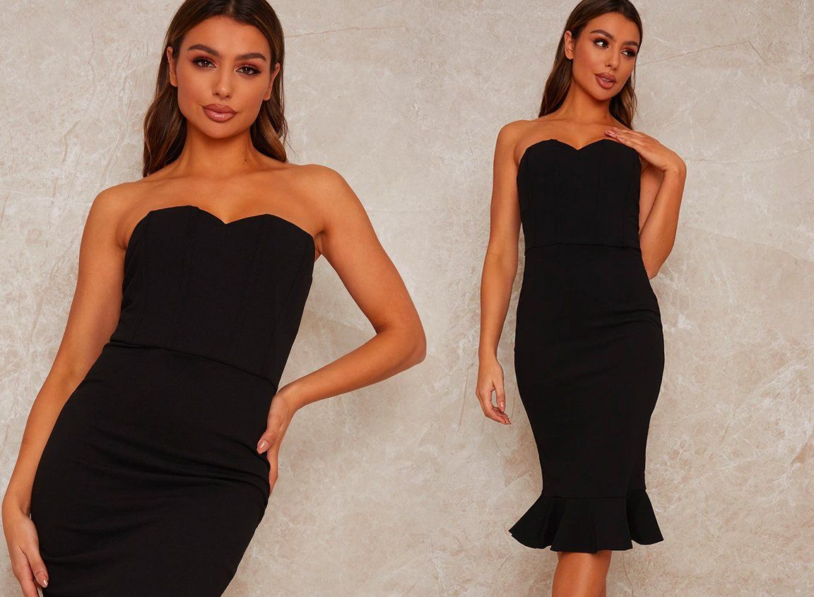 Bardot Bodycon Party Dress with Peplum Design
