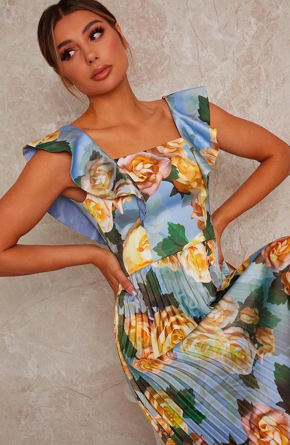 Ruffle floral print midi dress