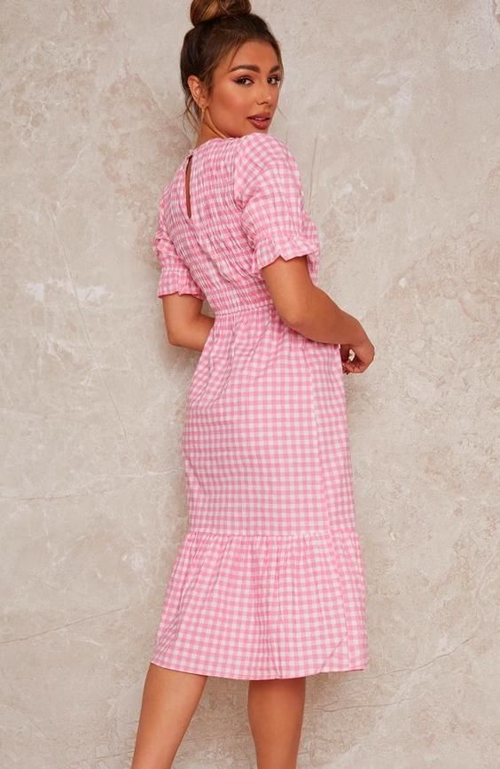 Gingham Midi Day Dress with Shirred Bodice