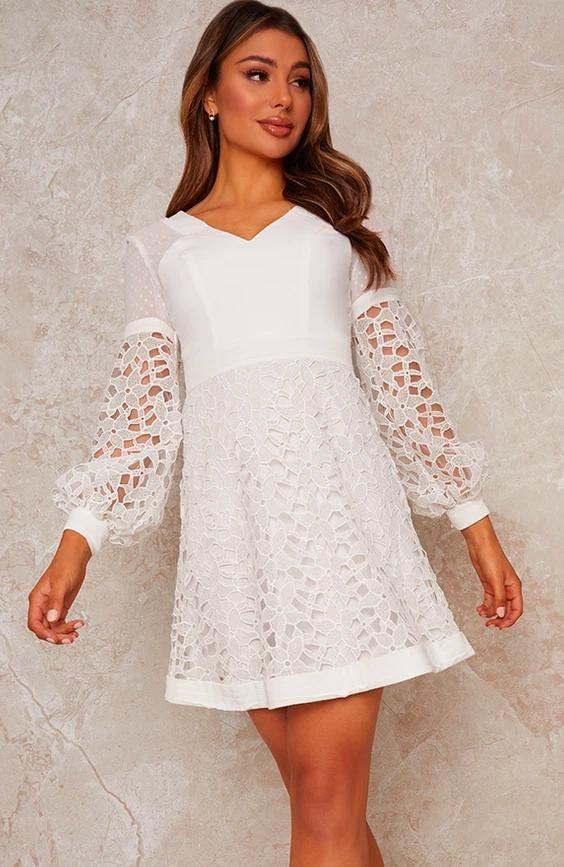 Crochet Mini Dress in White
