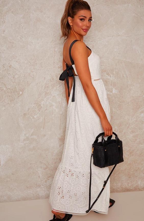 Crochet Maxi Dress in White