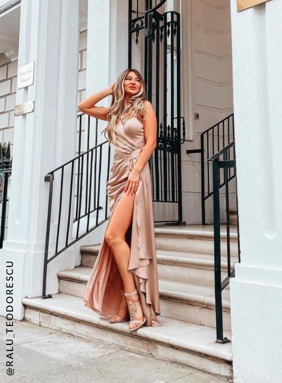 One Shoulder Satin Finish Maxi Bridesmaids Dress