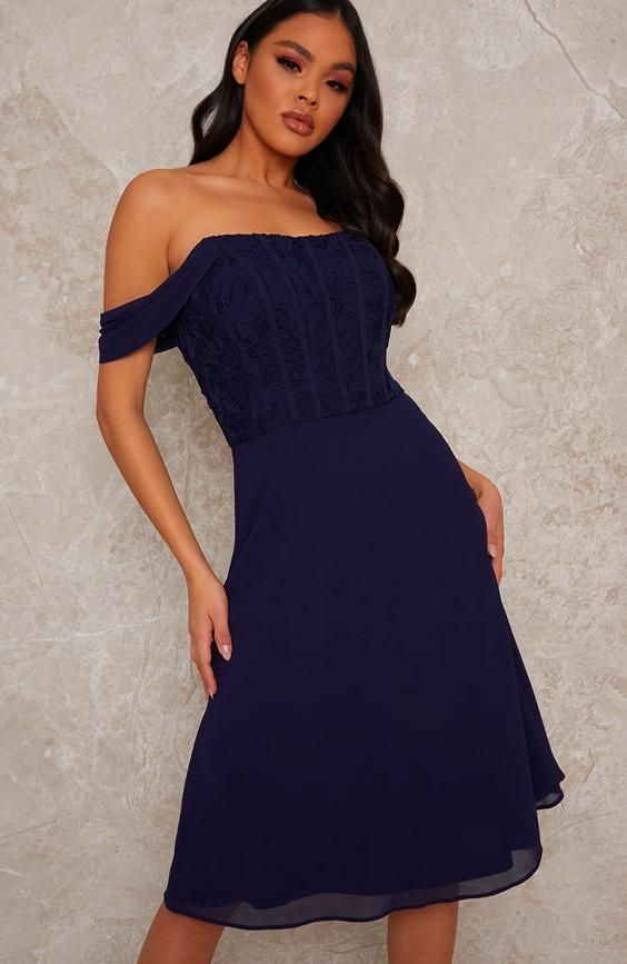 Crochet Bodice Bardot Midi Dress in Navy