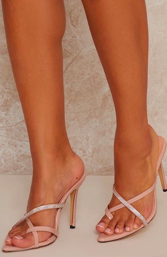High Heel Mule Diamante Sandals