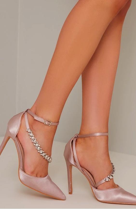 High Heel Diamante Strappy Court Shoe