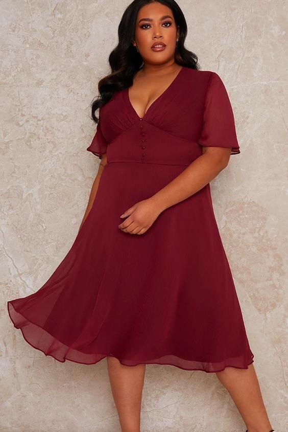 Plus Size Cap Sleeve Midi Ruffle Dress