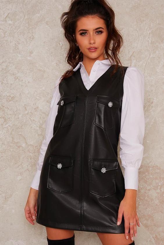 Leatherlook Pinafore Mini Dress In Black