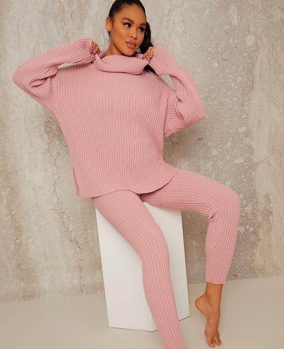 High Neck Ribbed Loungewear Set in Pink
