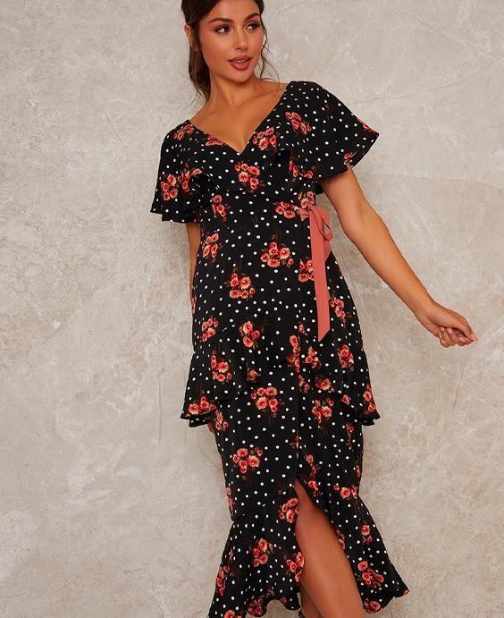 Ruffle Tie Waist Floral Print Midi Dress