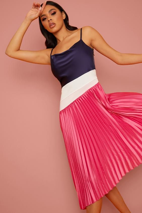 Satin Pleated Midi Cami Dress in Multi