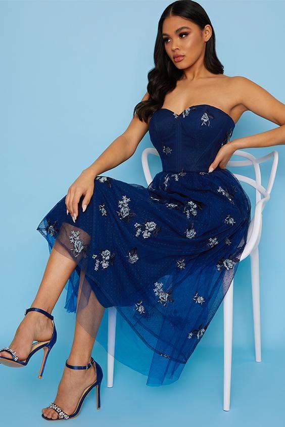 Bardot Lace Overlay Tulle Midi Dress In Navy