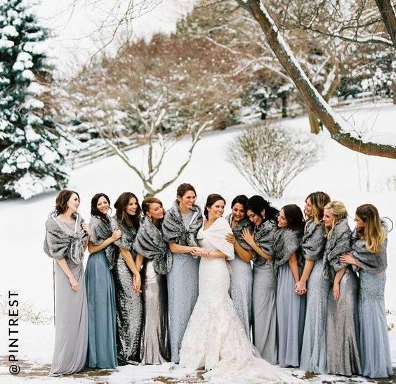 Snowy wedding shoot