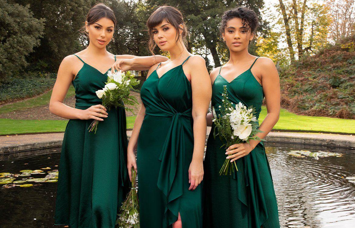 Green Satin Bridesmaids Dresses
