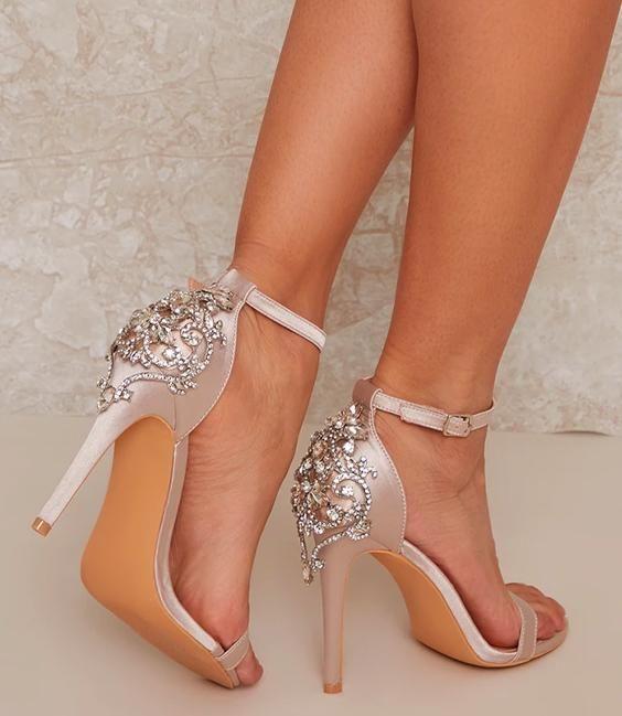 High Heel Diamante Design Satin Sandal in Neutral