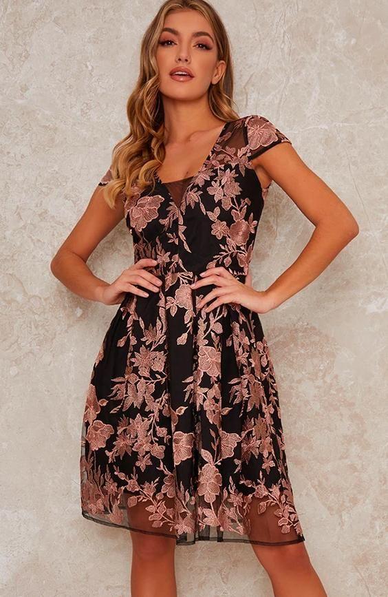 Lace V Neck Cap Sleeve Midi Dress